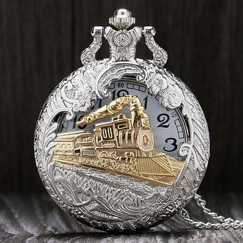 Men's Golden Train Pocket Watch