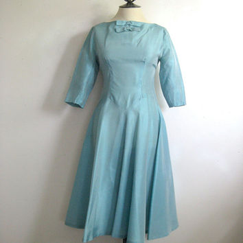Vintage 1950s Day Dress Seagreen Taffeta Summer Circle Skirt Dress Small 5-6
