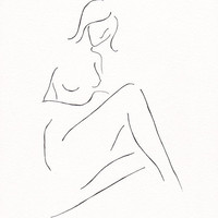 Minimalist bedroom wall decor. Original ink line sketch of a nude figure sitting. Subtle and delicate erotic art.