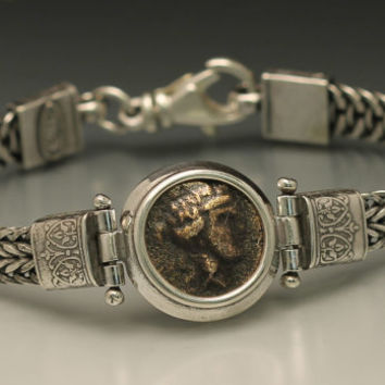 ancient coin bracelet with authentic ancient greek coin, sterling silver bracelet with ancient greek coin