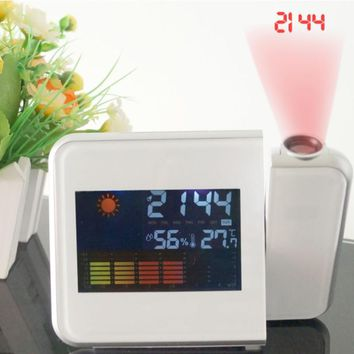 Time Watch Multi Function Digital Alarm Clocks Color Screen Desktop Clock Display Weather Calendar Time Projection 1 Pcs