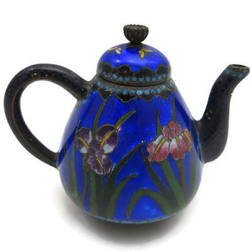 Antique Chinese Cloisonne Teapot - Miniature Tea Pot, Iris on Cobalt Blue Enamel