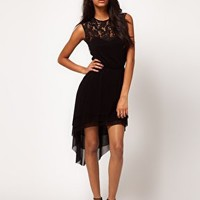 ASOS Dress in Mesh And Lace With Dipped Hem at asos.com