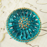 18mm Glass Flower Button Cabochon Aqua Blue & Gold Sunburst Daisy Floral - 1