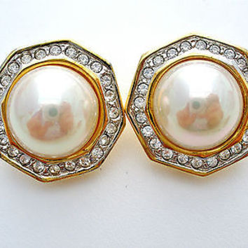 Vintage Pearl Rhinestone Clip Gold Earrings Wedding Jewelry