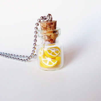 Miniature Bottle Jewelry  LEMON SLICES  can be a by FrozenNote
