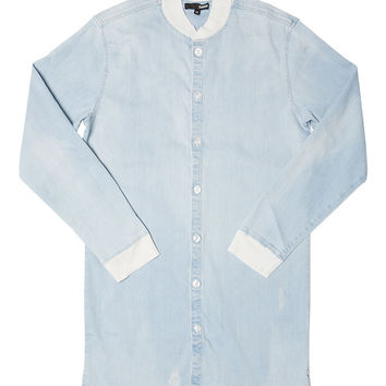 LIGHT WASH DENIM LONG SHIRT JACKET