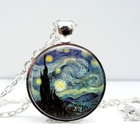 Starry Night Dome Pendant Necklace - Famous Van Gogh Painting