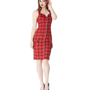 Jawbreaker Creepy Plaid Zip Front Dress