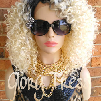 ON SALE // Celebrity Inspired Lace Front Wig, Ombre Platinum Blonde Wig, 100% Human Hair Blend, Kinky Curly Wig // BOLD (Free Shipping)