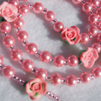 Pink Pearls and Roses Rosary