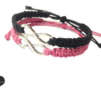 Infinity Friendship Bracelets Pink Black Hemp