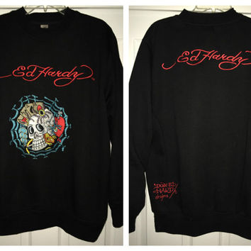 Sale!! Vintage Don ED HARDY black sweaters Christian Audigier Pullovers Made in USA