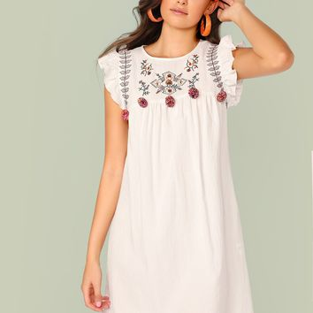 Pompom Detail Embroidery Appliques Ruffle Cuff Smock Dress