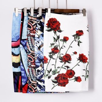 Autumn Rose Flower Printed High Waist Skirt
