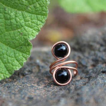 Black Obsidian Copper Ear Cuff, Unisex Tribal BOHO Earthy Hypoallergenic Women Men Gift, Copper Ear Cuff, Black Earrings, Copper Jewelry