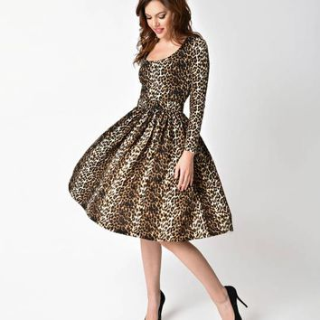 Vixen by Micheline Pitt Wild Vintage Leopard Long Sleeve Troublemaker Swing Dress