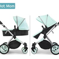Luxury Hot Mom 2 in 1  Portable Baby Stroller High Landscape Lightweight Easy To Fold