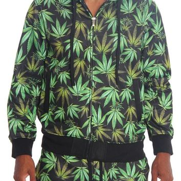 Magic Leaf Print Fleece Zip Up Hoodie JK500 - T3I