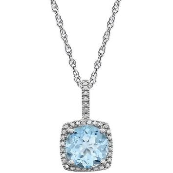 "Sterling Silver 7mm Sky Blue Topaz & .015 CTW Diamond 18"" Halo-Style Necklace"
