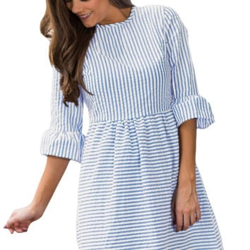 White Stripe Flounce Sleeve Seersucker Dress LAVELIQ