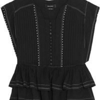 Isabel Marant - Raquel ruffled beaded cotton-gauze top