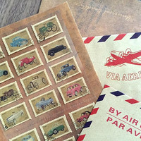 vintage car Postage Stamps sticker classic car retro car themed postage stamp famous brand car in the world car collection decor sticker
