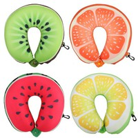 Hot Sell Fruit U Shaped Pillow Watermelon Orange Lemon Kiwi Neck Cushion Nanoparticles Foam Neck Pillow Outdoor Travel Pillow