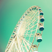 Carnival photo nursery art turquoise ferris wheel wall by bomobob