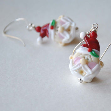 Santa Claus Earrings, Christmas Earrings, Lampwork Glass Earrings, Holiday Jewelry