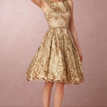 Rosa  Wedding Guest Dress by Anthropologie x BHLDN in Blush/gold Size: