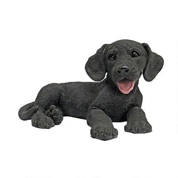 Black Labrador Puppy Dog Hand-Painted Sculpted Resin Statue