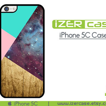 iPhone 5C Case iPhone 5C Cover iPhone 5C Rubber Geometric shapes light pink tiffany blue wood with galaxy