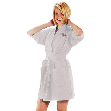 Monogrammed Waffle Weave Robe Custom Embroidery Persoanlized Christmas Gifts Under 50 Dollars