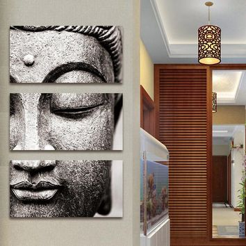 Frameless Gray 3 Panel Modern Large Oil Style Buddha Wall Art Print on Canvas Home Living Room Decoration Wall Art wooden framed