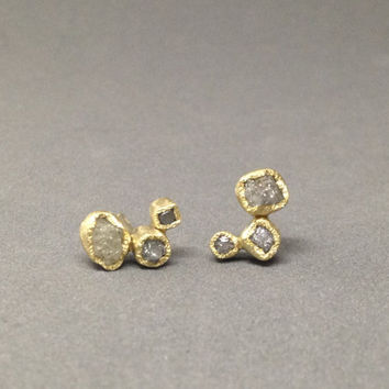 18kt yellow gold raw diamond earrings gold earrings diamond earrings 3 stone earrings