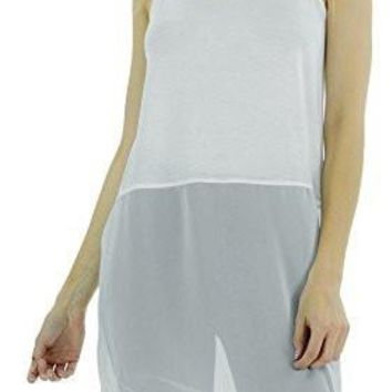 Women's Basic Knit Slip Top with Sheer Bottom and spagehtti Straps