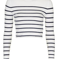 Engineered Stripe Crew Neck Top - Topshop