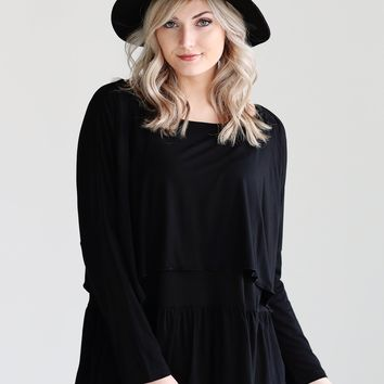 Black DLMN Long Sleeve Layered Top