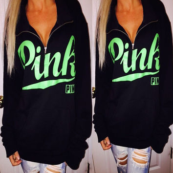 Zippers Winter PINK Stylish Alphabet Long Sleeve Hoodies [9609316815]