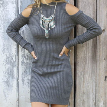 Sunny Daze Charcoal Mock Neck Ribbed Cold Shoulder Long Sleeve Dress