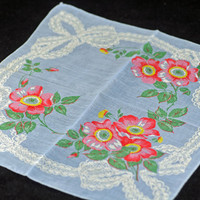 Vintage Handkerchief, Blue, Pink Flowers, Huge White Bow - Collectible Hankie - Craft, Framing,  or Sewing Hankie Lot Q-43