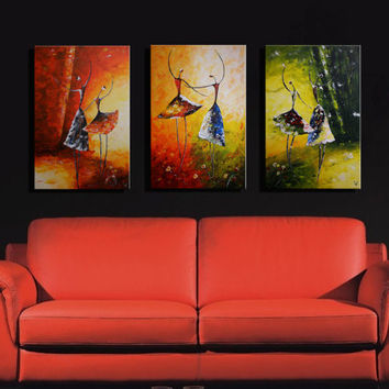 48 x 24 inch Triptych Original acrylic painting of Ballet Dancers on 3 Canvas Home Wall Decor FREE SHIPPING