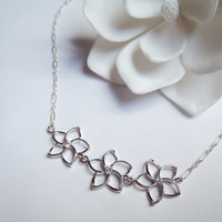 Delicate Sterling Silver Chain Necklace 3 Sterling Silver Hawaiian Plumeria Flowers by Tasha808