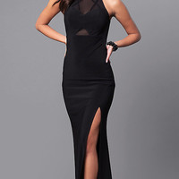 Black Long Prom Dress with Sheer Cut Outs