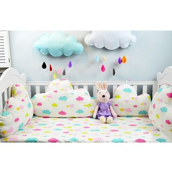 1pcs 45/60/70cm Baby Bedding Bumper Clouds Shape Thicken Bumpers in Baby Bed DIY Baby Room Decor Pillow Newborns Cot Protector