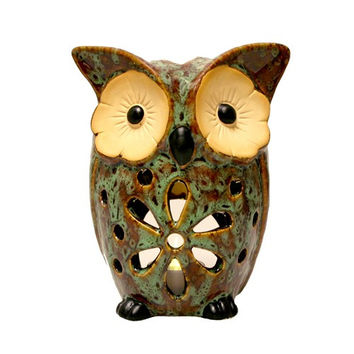 Daisy Owl Candle Holder Ceramic