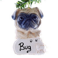 Pug Personalized Christmas Ornament  -  Free Personalization - Fawn Pug Ornament