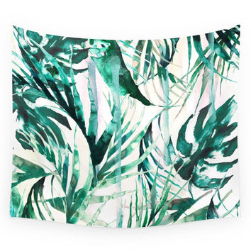Society6 Green Tropical Paradise Wall Tapestry