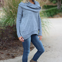 Forever Cozy Cowl Neck Sweater ~ Gray